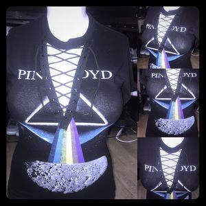 Pink Floyd  automotive lace up rock band Tee